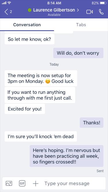 Une conversation sur un appareil mobile