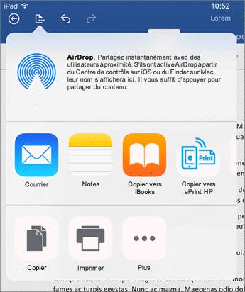 La boîte de dialogue Ouvrir dans une autre application vous permet d'envoyer votre document à une autre application pour envoyer celui-ci dans un e-mail, l'imprimer ou le partager.