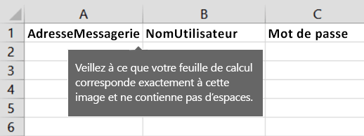 En-têtes de cellule dans le fichier de migration d'Excel