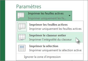 Sous Paramètres, cliquez sur Imprimer le classeur entier