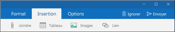 Onglet Insertion dans un courrier électronique