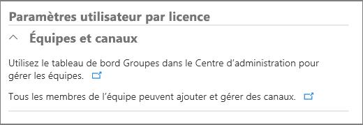 Paramètres utilisateur selon la licence