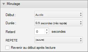 Capture d'écran montre la section minutage du volet Animations avec le début, durée, retarder, puis répétez les options et une case à cocher pour rembobiner à la fin.