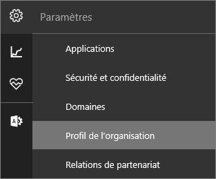 Menu Paramètres avec le profil d'organisation sélectionné