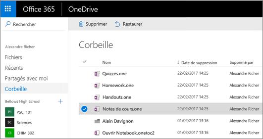 Corbeille OneDrive avec une liste des pages de bloc-notes. Icônes pour supprimer et restaurer.