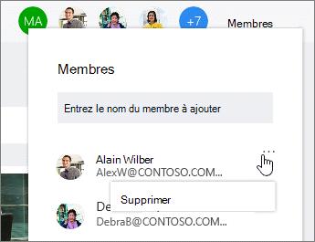 Supprimer des membres à partir d'un plan