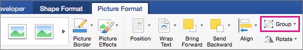 Pour créer un groupe d'images sélectionnées ou des objets, cliquez sur groupe.