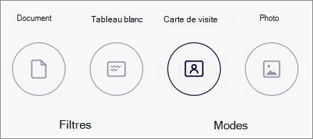 Options de mode pour les analyses d'image dans OneDrive pour iOS