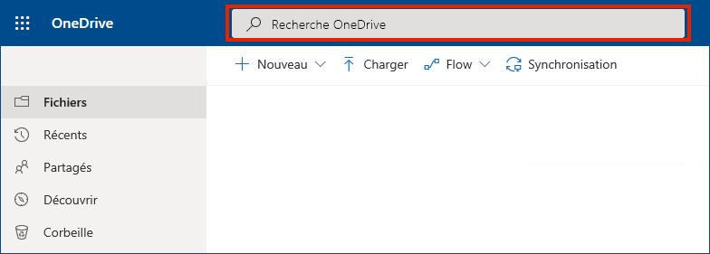 OneDrive Entreprise en ligne avec barre de recherche en haut
