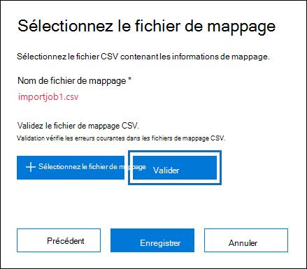 Cliquez sur Valider pour vérifier le fichier CSV d'erreurs