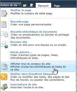 Afficher tout le contenu de site dans le menu actions du Site