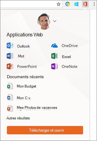 Cliquez sur l'extension Office Online dans la barre d'extensions de Chrome pour ouvrir le volet Office Online.