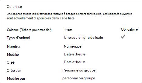 Section de colonne de liste dans les paramètres de la liste