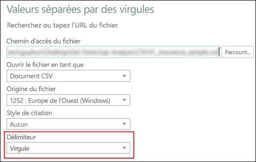 Power Query - Connecteur CSV - Possibilité de spécifier Séparateur de colonnes dans la boîte de dialogue Source