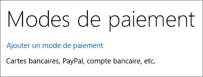 Page Options de paiement affichant le lien Ajouter une option de paiement