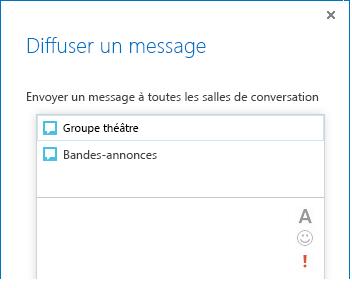Capture d'écran du haut de la boîte de dialogue de diffusion de message