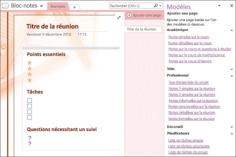 Capture d'écran d'une page de bloc-notes créée à partir d'un modèle de réunion. Le volet Modèles est ouvert.