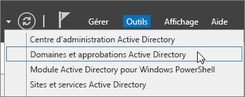Sélectionnez Domaines et approbations Active Directory.
