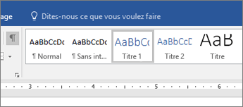 Capture d'écran des options de style de titre