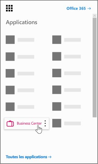 Le Lanceur d'applications Office 365 avec l'application d'entreprise centre mis en surbrillance
