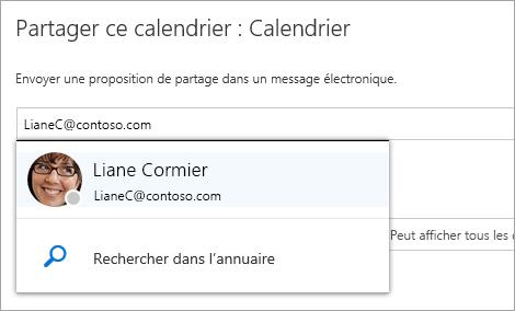 Capture d'écran de la boîte de dialogue Partager ce calendrier
