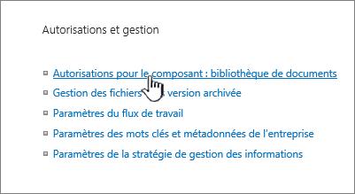 Autorisations pour ce lien de bibliothèque de documents
