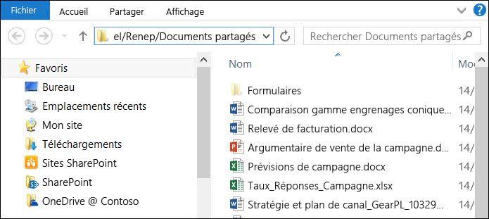 Explorateur de fichiers après la sélection de l'option «Ouvrir avec l'Explorateur»