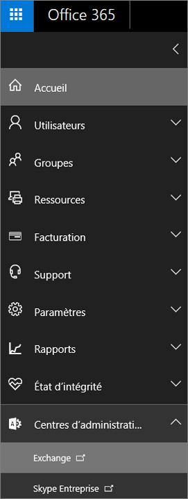 La capture d'écran montre le Centre d'administration Office365 avec l'option Centres d'administration développée et Exchange sélectionné.