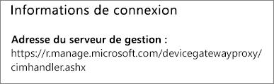 La page Géré par affiche l'URL des informations de connexion du Gestionnaire de périphériques.