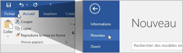 Interface utilisateur pour la création d'un document Word