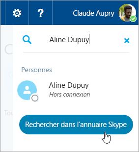 Capture d'écran de la zone de recherche dans le volet Skype