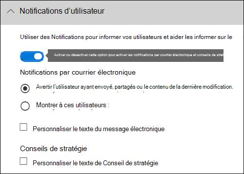 Section de notifications d'utilisateur de l'éditeur de règle
