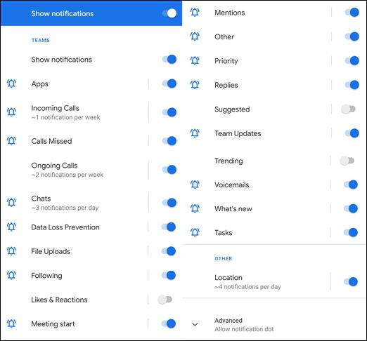 Capture d'écran du menu de notification des équipes Android.