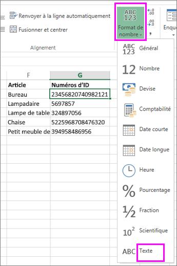 appliquer le format de texte aux nombres