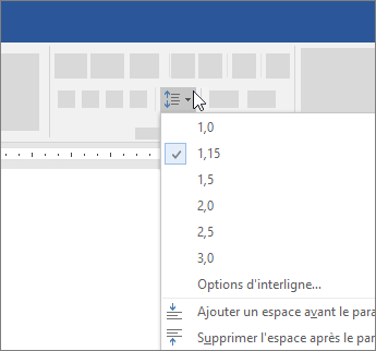 Options permettant de modifier l'interligne dans Word