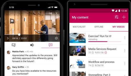 Contenu de l'application mobile Stream
