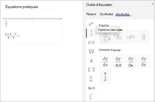 Sélectionnez structures, puis sélectionnez une catégorie pour parcourir les structures mathématiques disponibles.