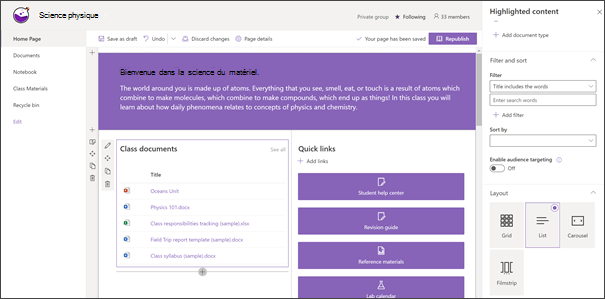 Composant WebPart contenu en surbrillance sur un site de cours