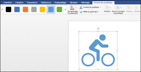 Galerie styles avec un style bleu clair appliqué à un graphique d'une bicyclette