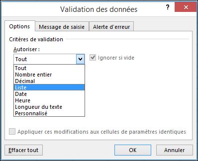 Onglet Paramètres de la boîte de dialogue Validation de données