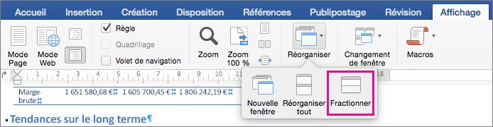 Cliquez sur Fractionner pour diviser la fenêtre Word en deux vues du même document.