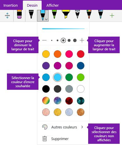 Options de largeur et la couleur de contour de OneNote pour Windows 10 de l'encre