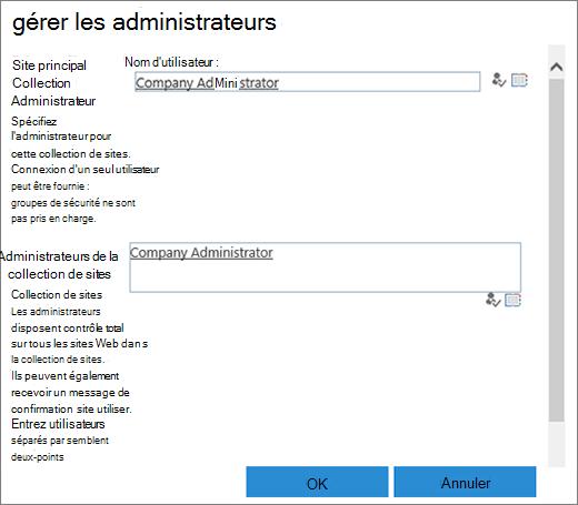 Boîte de dialogue d'administrateur de site.
