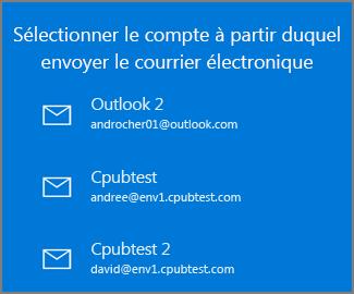 Choisissez le compte à partir duquel envoyer un courrier électronique.