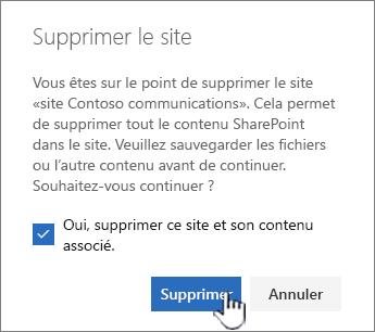 Si vous êtes sûr de vouloir supprimer le site, cliquez sur supprimer.