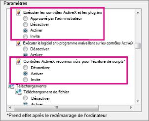 Autoriser le chargement et l'exécution des contrôles ActiveX dans Internet Explorer