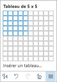 Grille de tableau dans Outlook sur le Web.