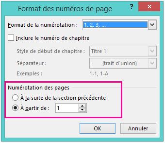 Définir le numéro de la page de début