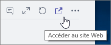 Capture d'écran de l'icône Accéder au site web du menu de canal de Microsoft Teams