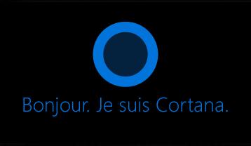 Logo Cortana et mots «Bonjour. Je suis Cortana».